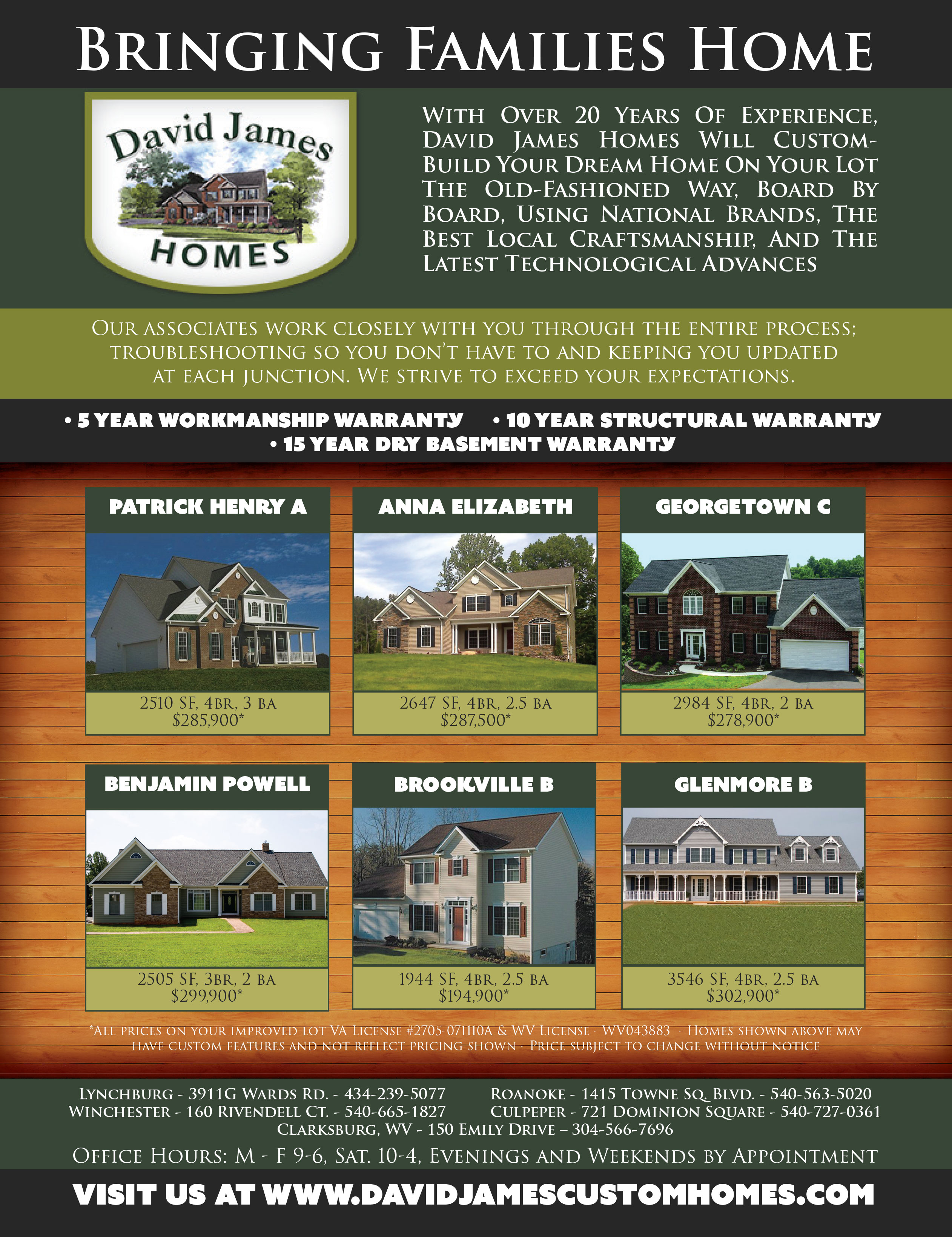 David James Homes Magazine Ad